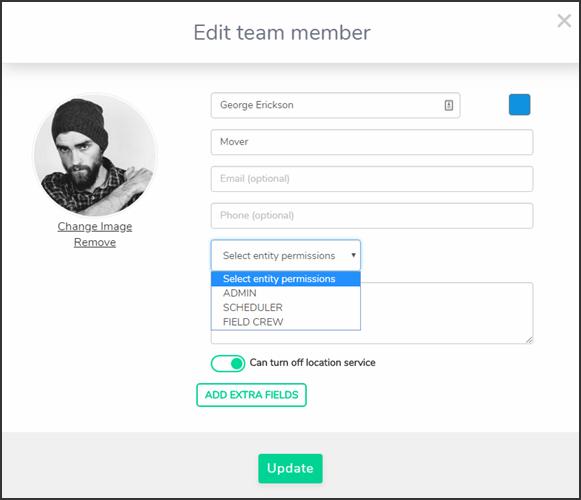 Team member edit page