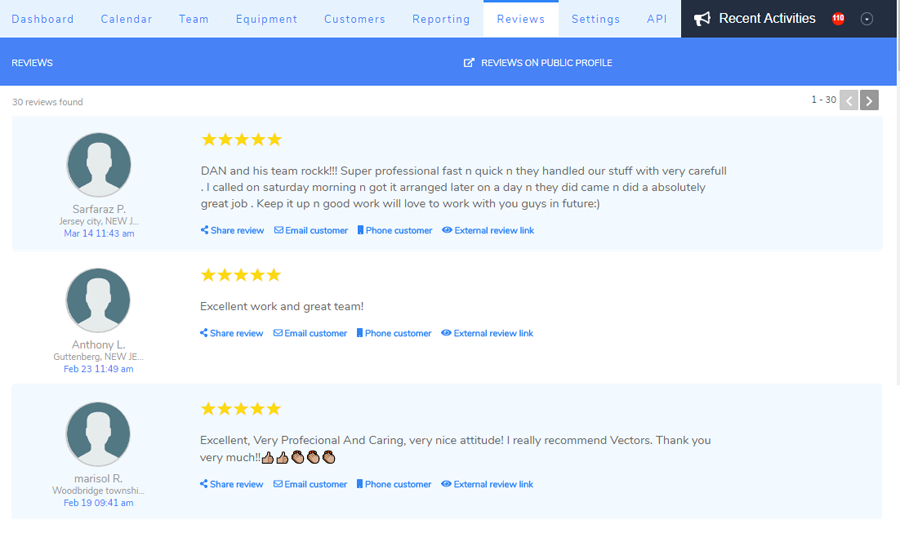 Your customers' reviews on Arrivy