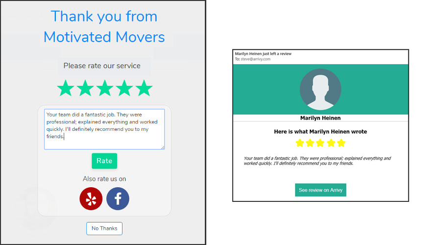 Customers are automatically prompted for reviews