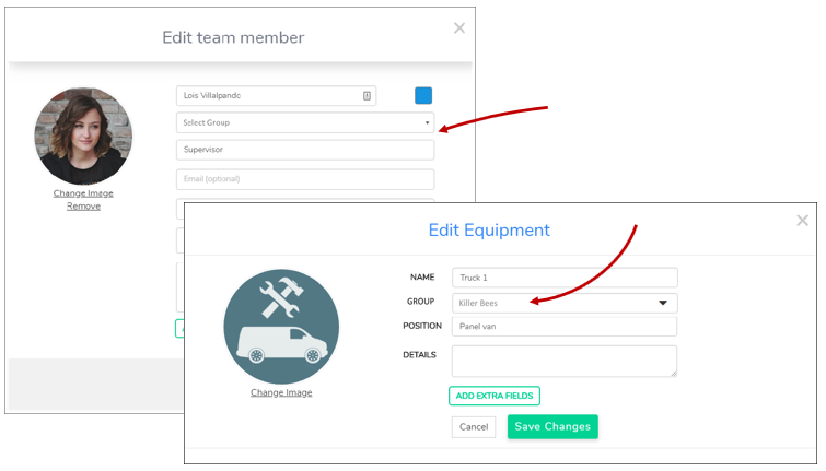 Groups selector in Team and Equipment dialogs