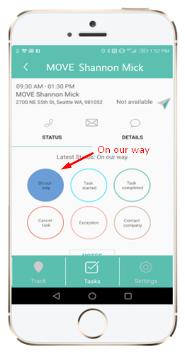 Arrivy mobile interface