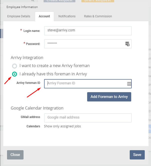 Sychronize Arrivy Users