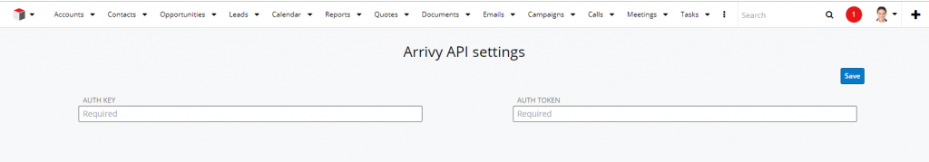 Arrivy API Settings page