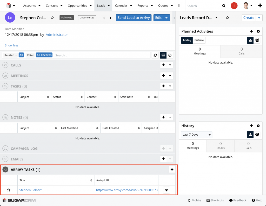 SugarCRM subpanel showing Arrivy Tasks