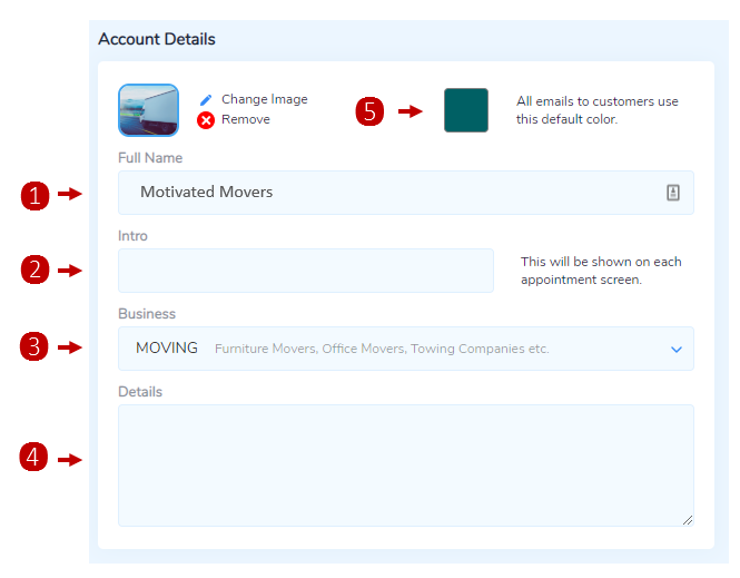 Basic Details on the Account Details Settings page