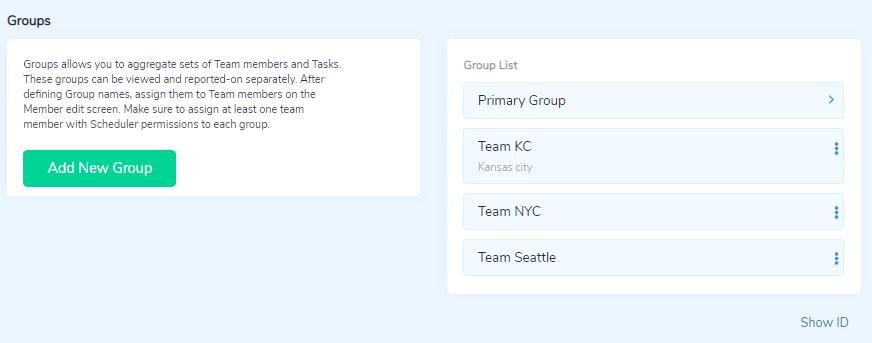 Group settings list