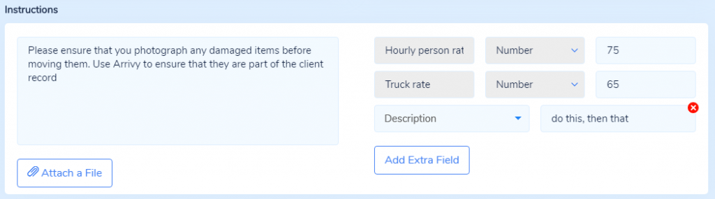 Instructions and Extra Fields from Task Details