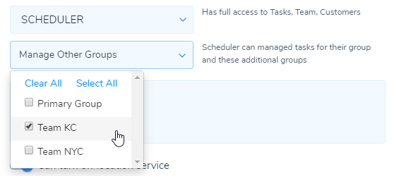Schedulers can manage Tasks for multiple Groups