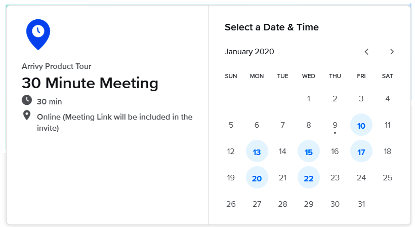 The Calendly interface