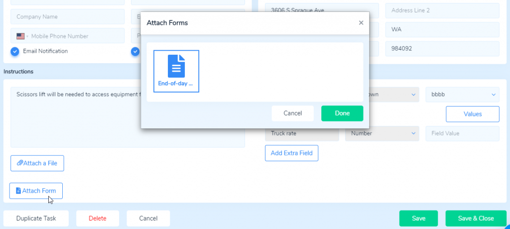 Attach forms through the Task Details page