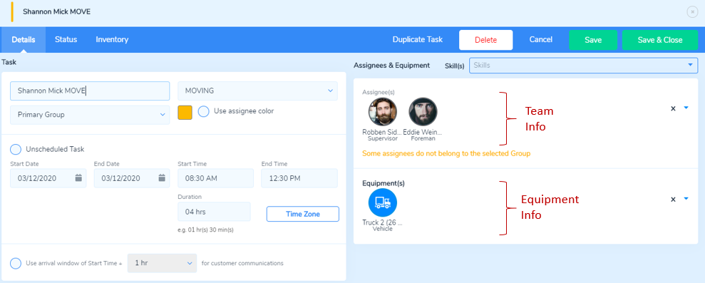 Task Details page showing assignees and equipment