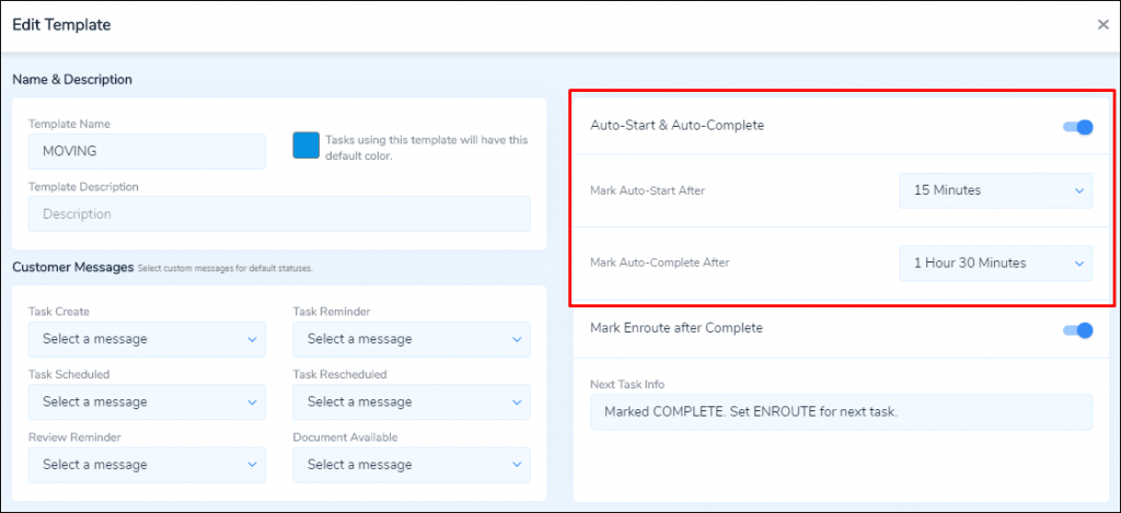 Auto-Start/Complete Template Settings