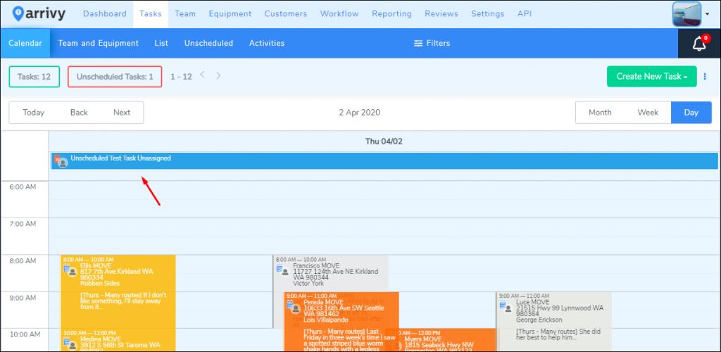 Unscheduled Tasks in Calendar View