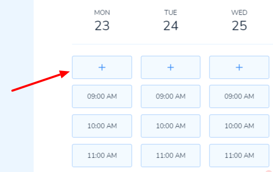 The button to add a slot in bookings
