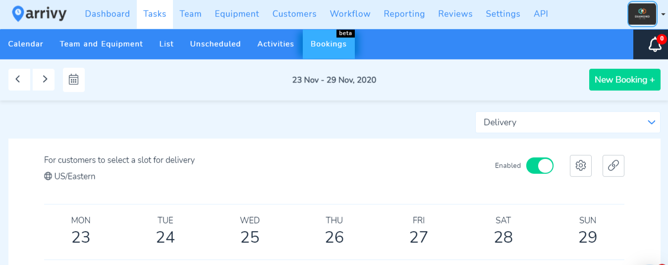 Bookings Home Tab with Calendar