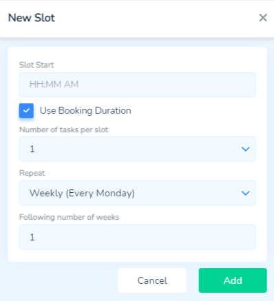Add a new slot in Bookings